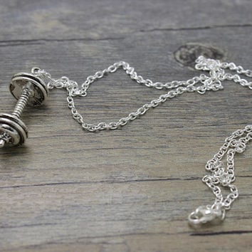 1pcs Antique Tibetan silver Weightlifting barbell charm pendant and sports Gym necklace jewelry