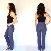 High Waist Boot Cut Jeans Vintage 70's H.I.S For Her Flare Denim 26