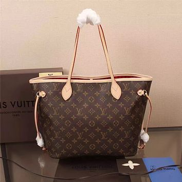 LV Louis Vuitton WOMEN'S MONOGRAM LEATHER TOTE BAG HANDBAG