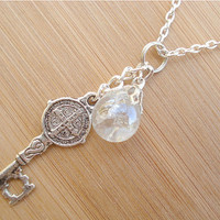 Medieval Key Crystal Crackle Glass Marble Necklace