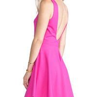 Amanda Uprichard Backless Skater Dress in Pink