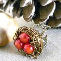 BIRDS NEST RING Red Nature Inspired Adjustable Filigree Ring by WilwarinDesigns