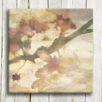 "Pink blush Floral art Japanese style - blossom tree - canvas art -12""/12"""