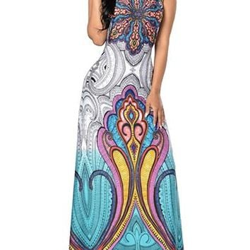 Women's Maxi Dress in East Indian-Influenced Print