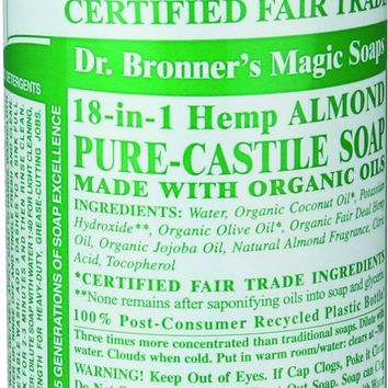 Dr. Bronner's Pure Castile Soap - Fair Trade And Organic - Liquid - 18 In 1 Hemp - Almond - 16 Oz  10% Off Auto renew