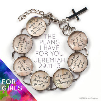 The Plans I Have For You - Jeremiah 29:11-13 Girls Bible Verse Glass Charm Bracelet, 6-7""