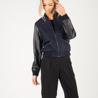 Pleather Long Sleeve Woven Jacket