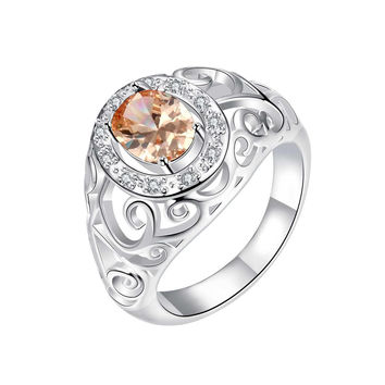 Royalty Inspired Orange Citrine Modern Ring