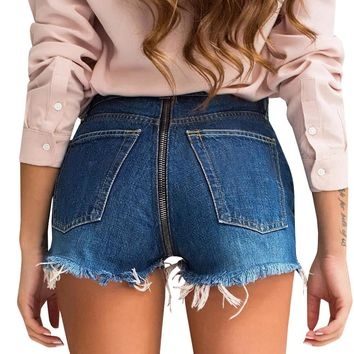 Sexy Back Zipper Denim Shorts 2018 Summer Vintage Tassel Holes Ripped Short Jeans High Waist Casual Pockets Bodycon Women Shorts