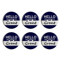 Grant Hello My Name Is Plastic Resin Button Set of 6