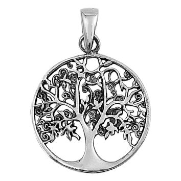 "Sterling Silver Tree of Life Wiccan Pendant 26MM (Free 18"" Chain)"