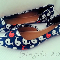 Whale-y Awesome-Blue White Coral-Women's Flats-Summer Flats-Custom shoes-Whales-Spring shoes-Personalized Shoes
