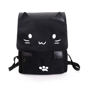 Cute Backpack Women Canvas Large Capacity School Bags for Teenagers Book Bag Embroidery Printing Cat Back Bags Rucksack Bookbag
