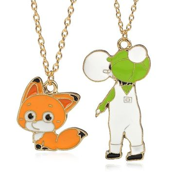 DIY Cute Figure Necklace Kawaii Fox Pendant Green Boy And Lovely Fox Necklaces&Pandants Cartoon Good Chain Necklace DropShipping