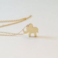 Gold Lucky Elephant Necklace, Elephant Charm, Good Luck Elephant