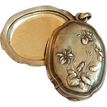 French Art Nouveau Slide Locket Pendant, Violets, European Silver Vintage Jewelry, CHRISTMAS IN JULY