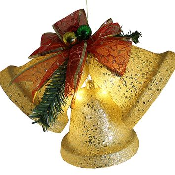 "8.5"" Gold Glittered Battery Operated Lighted LED Christmas Bell Decoration"