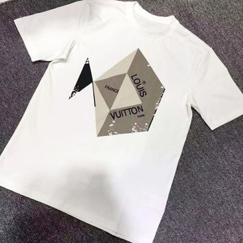 LV Louis Vuitton New fashion letter print couple top t-shirt White