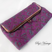 Vintage Avon Clutch Bag, Floral Print Make Up Bag/Cosmetic Bag with Mirror