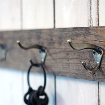 Hand Crafted Barn Wood Coat Hook & Key Holder, 24x5