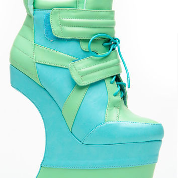 Mona Mia Green Curved Sneaker Wedge