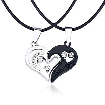 Fashion Couple Jewelry I Love You Necklace Pendant Crystal Heart Leather Chain Necklace Women Men Lovers Valentine's Day Gifts