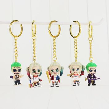 5pcs/set DC Suicide Squad The Joker And Harley Quinn Key Chain Pendant Gift With Keyring Key Chains