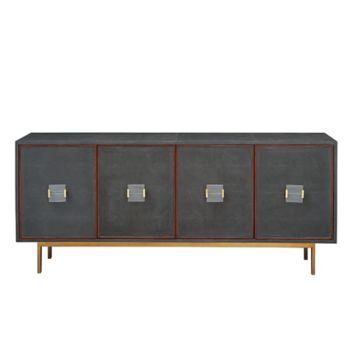 Worlds Away Four Door Low Cabinet in Shagreen with Wood Trim