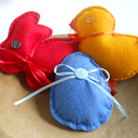 Bowl Filler Set Felt Gold Chick Blue Egg Red Bunny Nursery Home Decor Ornaments