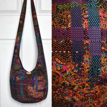 Hobo Bag Cross Body Bag Sling Bag Hippie Purse Hobo Purse Boho Bag Bohemian Purse Fabric Purse Slouchy Purse Handmade Purse Hippie Bag