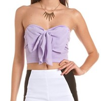 Bow-Front Ponte Crop Top: Charlotte Russe