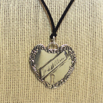 Vintage Sterling Heart Luggage Tag Charm Pendant on Cord
