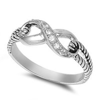 .925 Sterling Silver Infinity Knot Clear Cubic Zirconia Promise Love Ring