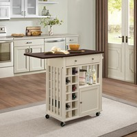 Canela collection two tone espresso and cream finish wood kitchen island cabinet with casters