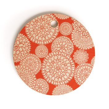 Heather Dutton Delightful Doilies Saffron Cutting Board Round