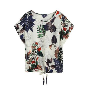 Tropical Print Drawstring Hem T-shirt