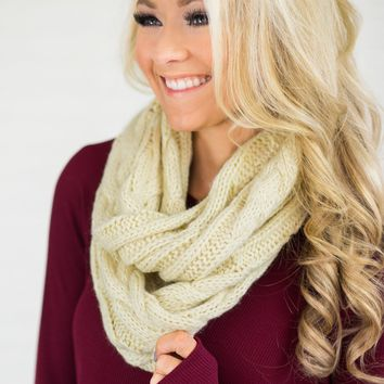 Knit Cream Infinity Scarf