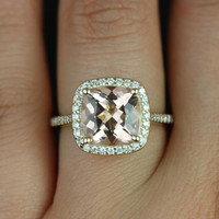 Hollie 14kt Yellow Gold Cushion Morganite and Diamonds Halo Engagement Ring (Other metals and stone options available)