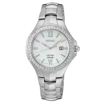 Seiko SUT239 Women's Watch 24 Diamond Accented Bezel Solar Mother of Pearl Dial