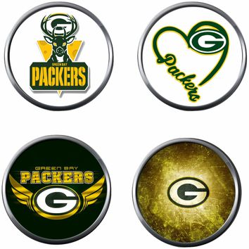 NFL Set of 4 Love Green Bay Packers Football Logo 18MM - 20MM Snap Jewelry Charms New Item