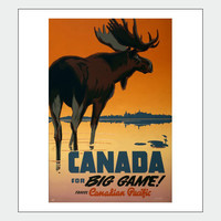 Canada For Big Game Canadian Pacific Retro Tourism Travel Poster