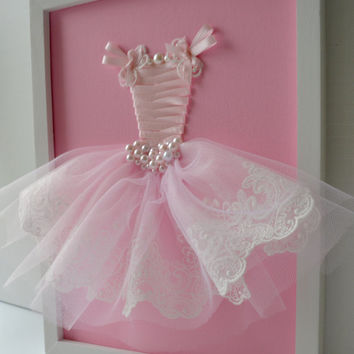Pink Princess Dress Wall Art. Girls Nursery Decor.