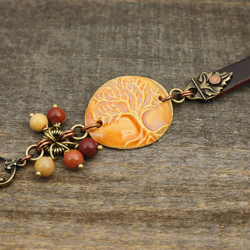 Multicolor tree bracelet, ceramic leather orange pink brown mixed metal copper brass mookaite 7 1/4 inches