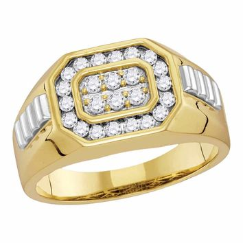 10kt Yellow Two-tone Gold Mens Round Diamond Octagon Frame Cluster Ribbed Ring 1/2 Cttw