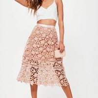 Missguided - Premium Pink Crochet Lace Full Midi Skirt
