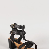 Bamboo Double Buckle Open Toe Chunky Heel Color: White, Size: 10