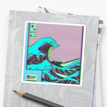'The Great Wave off Vaporwave Kanagawa' Sticker by nietr