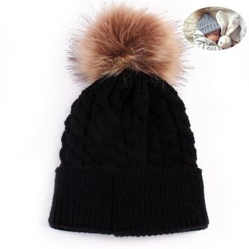 Newborn Winter Warm Wool Ball Knitted Hats Kids Knit Hemming Hat Cap Beanie Girls Boys Cute fur hats Cap gorros masculino Sep22