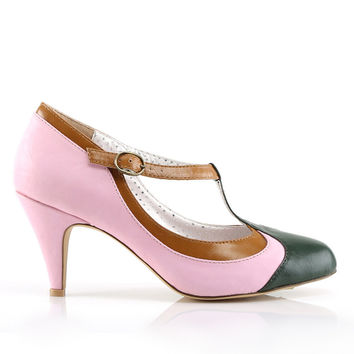 Pin Up Couture 'Peach' Pink T-Bar Heel Shoes | 1950's Inspired Fashion | Lindy Bop