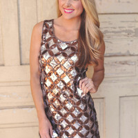 MOCHA SEQUIN DRESS